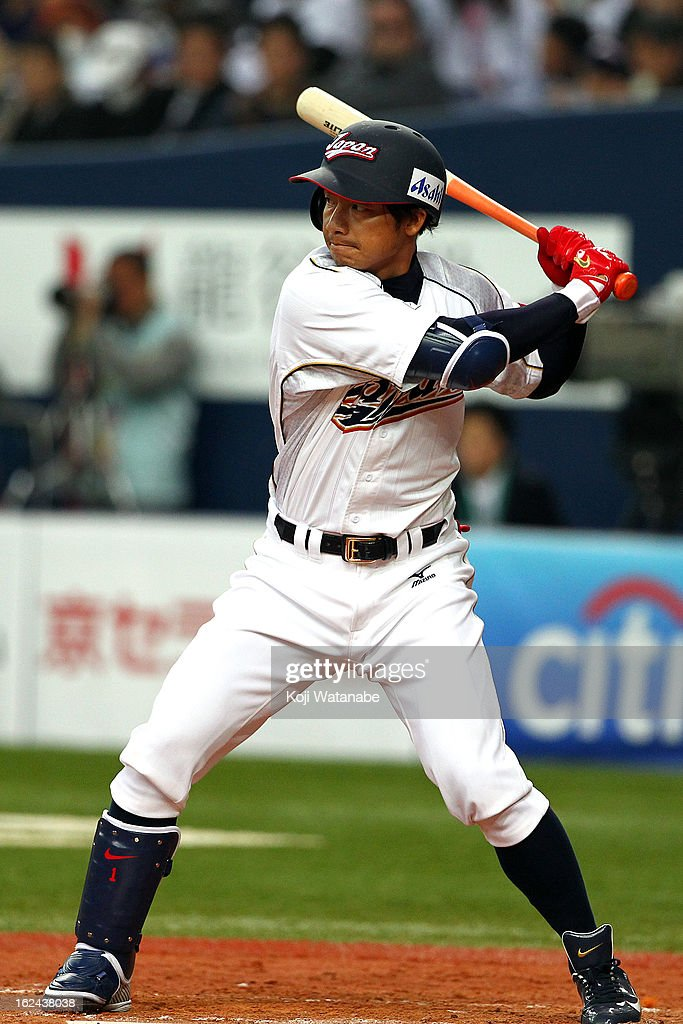 Infielder Takashi Toritani #1 of Japan at bat during international friendly game between Japan and Australia at Kyocera Dome Osaka on February 23, 2013 in Osaka, Japan.
