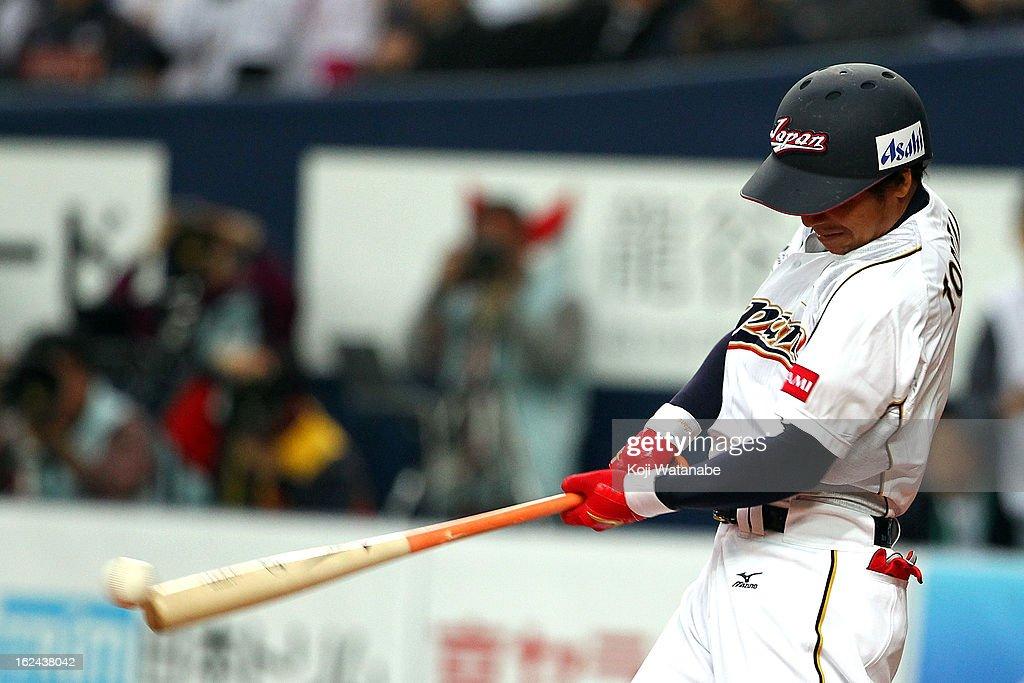 Infielder Takashi Toritani #1 of Japan at bat during international friendly game between Japan and Australia at Kyocera Dome Osaka on February 23, 2013 in Osaka, Japan.