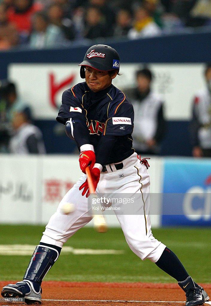 Infielder Takashi Toritani #1 of Japan at bat during the friendly game between Hanshin Tigers and Japan at Kyocera Dome Osaka on February 26, 2013 in Osaka, Japan.