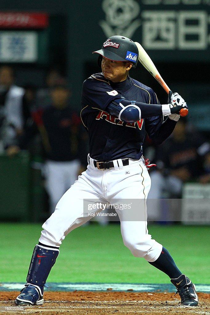 Infielder Takashi Toritani #1 of Japan at bat during the World Baseball Classic First Round Group A game between Japan and Cuba at Fukuoka Yahoo! Japan Dome on March 6, 2013 in Fukuoka, Japan.