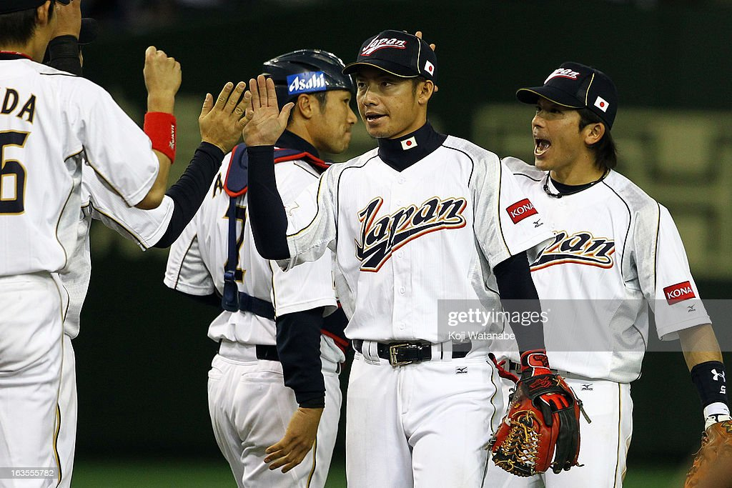 Infielder Takashi Toritani #1 of Japan celebrates after winning during the World Baseball Classic Second Round Pool 1 game between Japan and the Netherlands at Tokyo Dome on March 12, 2013 in Tokyo, Japan.