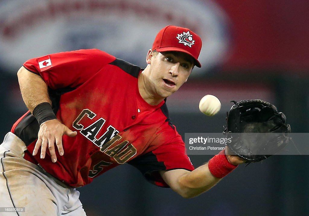 Infielder Taylor Green #5 of Canada fields a ground ball out against Italy during the fifth inning of the World Baseball Classic First Round Group D game at Chase Field on March 8, 2013 in Phoenix, Arizona.