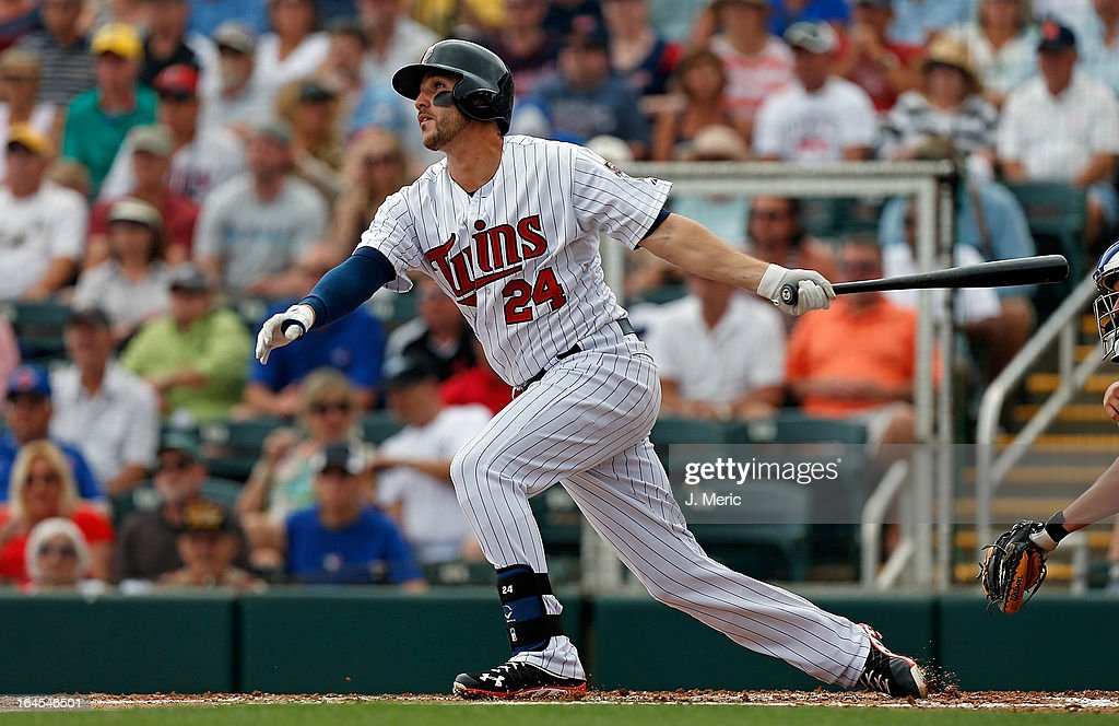 Infielder <a gi-track='captionPersonalityLinkClicked' href=/galleries/search?phrase=Trevor+Plouffe&family=editorial&specificpeople=5722348 ng-click='$event.stopPropagation()'>Trevor Plouffe</a> #24 of the Minnesota Twins fouls off a pitch against the Toronto Blue Jays during a Grapefruit League Spring Training Game at Hammond Stadium on March 24, 2013 in Fort Myers, Florida.