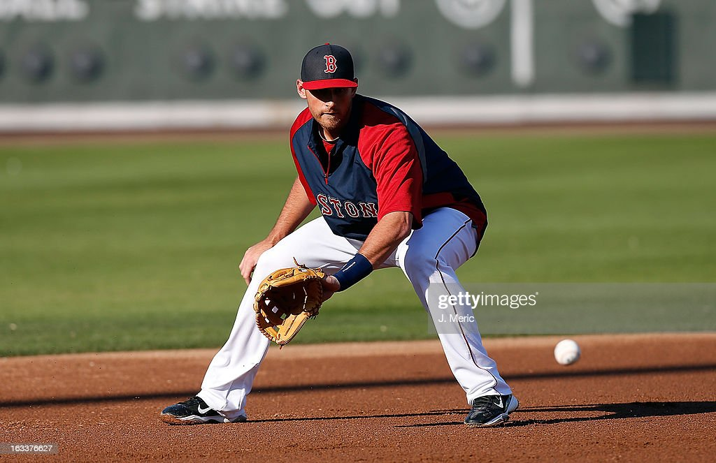 Infielder Will Middlebrooks #16 of the Boston Red Sox takes some ground ball just before the start of the Grapefruit League Spring Training Game against the Minnesota Twins at JetBlue Park on March 8, 2013 in Fort Myers, Florida.