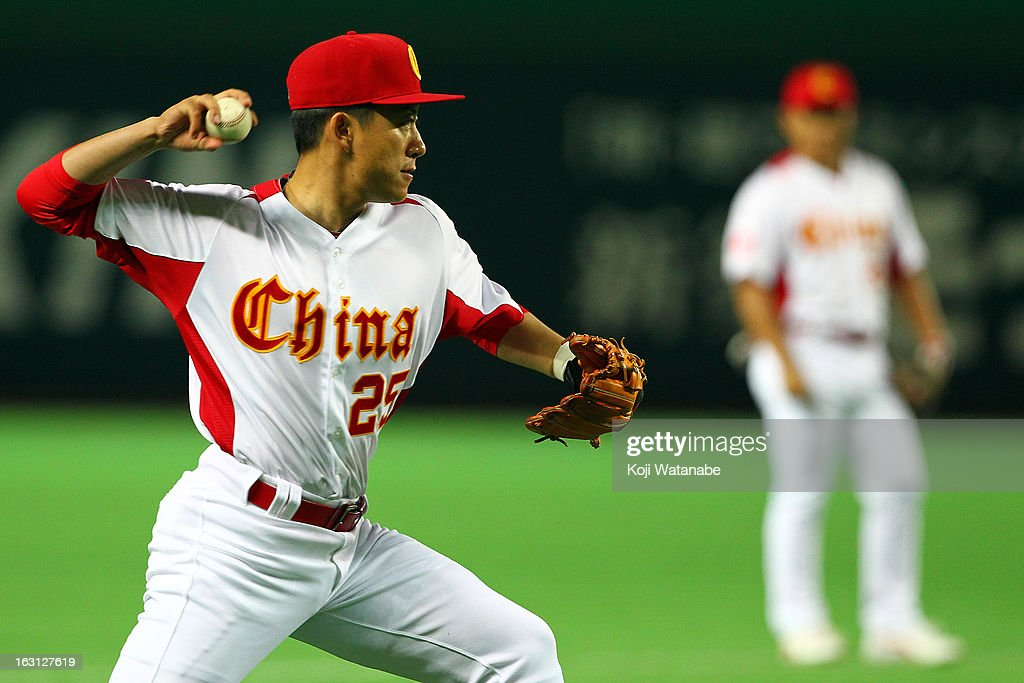 Infielder Xu An #25 of China in action during the World Baseball Classic First Round Group A game between China and Brazil at Fukuoka Yahoo! Japan Dome on March 5, 2013 in Fukuoka, Japan.