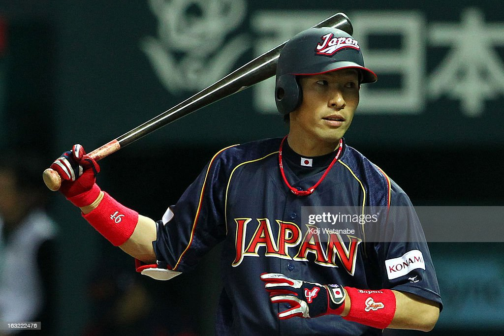 Infielder <a gi-track='captionPersonalityLinkClicked' href=/galleries/search?phrase=Yuichi+Honda&family=editorial&specificpeople=8673839 ng-click='$event.stopPropagation()'>Yuichi Honda</a> #46 of Japan at bat during the World Baseball Classic First Round Group A game between Japan and Cuba at Fukuoka Yahoo! Japan Dome on March 6, 2013 in Fukuoka, Japan.
