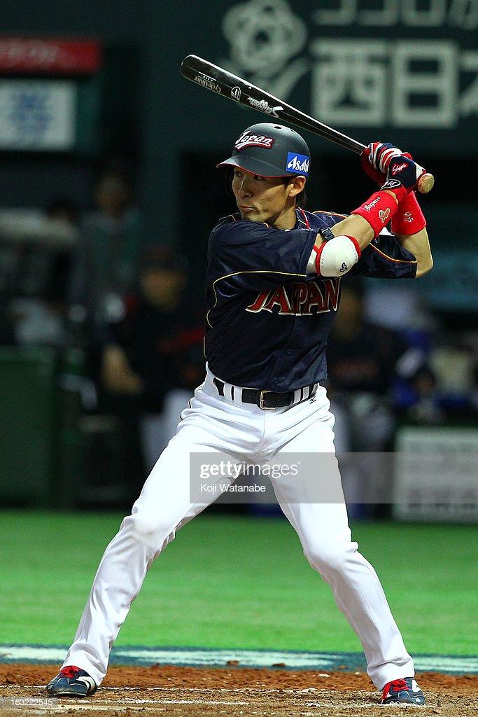 Infielder Yuichi Honda #46 of Japan at bat during the World Baseball Classic First Round Group A game between Japan and Cuba at Fukuoka Yahoo! Japan Dome on March 6, 2013 in Fukuoka, Japan.