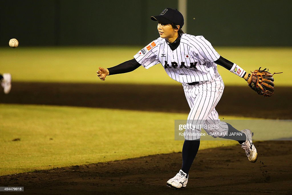 Infielder <a gi-track='captionPersonalityLinkClicked' href=/galleries/search?phrase=Yuki+Kawabata&family=editorial&specificpeople=6915237 ng-click='$event.stopPropagation()'>Yuki Kawabata</a> #23 of Japan sprints during the IBAF Women's Baseball World Cup Group A game between Japan and Australia at Sun Marine Stadium on September 1, 2014 in Miyazaki, Japan.