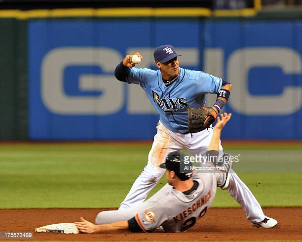Infielder Yunel Escobar of the Tampa Bay Rays sets to throw to first base after a secondinning force out against the San Francisco Giants August 4...