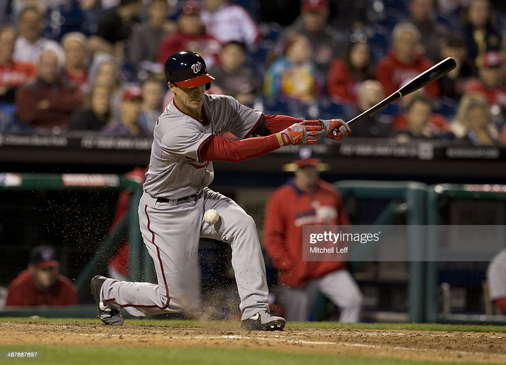 Infielder Zach Walters #4 of the Washington Nationals fouls off a pitch in the eighth inning against the Philadelphia Phillies on May 2, 2014 at Citizens Bank Park in Philadelphia, Pennsylvania.