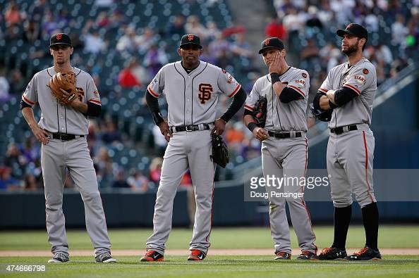 Infielders Matt Duffy Joaquin Arias of the San Francisco Giants Joe Panik and Brandon Belt of the San Francisco Giants look on a relief pitcher Jean...