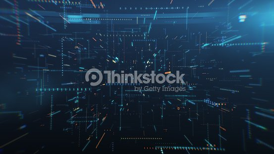 Infinite flight among binary code in a chaotic technological space 3d illustration : Stock Photo