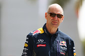 Infiniti Red Bull Racing Chief Technical Officer Adrian Newey walks into the paddock during final practice for the Bahrain Formula One Grand Prix at...