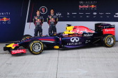 Infiniti Red Bull Racing drivers Sebastian Vettel of Germany and Daniel Ricciardo of Australia attend the launch of their new RB10 Formula One car at...