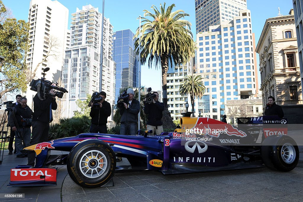 Infiniti Red Bull Racing Formula One car is seen during an AGPC media announcement at the State Government Office on August 3, 2014 in Melbourne, Australia.