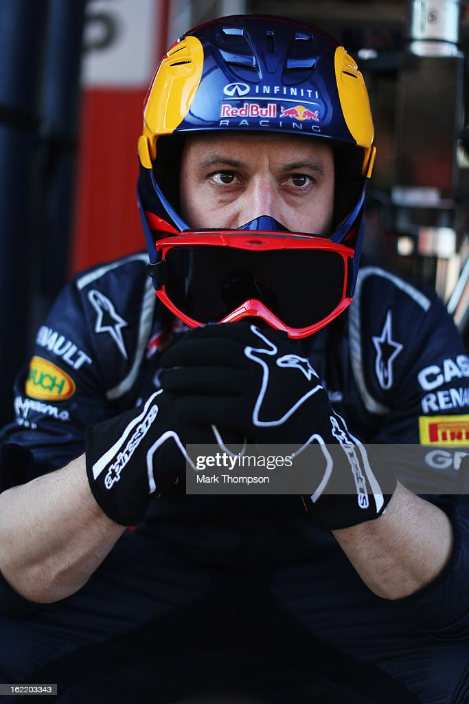 Infiniti Red Bull Racing mechanic is seen during day two of Formula One winter test at the Circuit de Catalunya on February 20, 2013 in Montmelo, Spain.