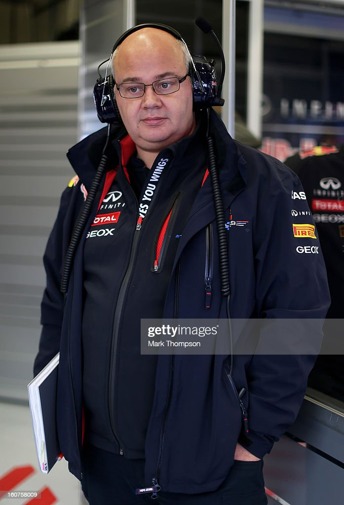 Infiniti Red Bull Racing Team Chief Designer Rob Marshall is seen in the team garage during Formula One winter testing at Circuito de Jerez on February 5, 2013 in Jerez de la Frontera, Spain.