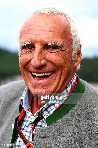 Infiniti Red Bull Racing team owner and CEO of the Austria energy drink producer Red Bull Dietrich Mateschitz smiles on track after qualifying for...