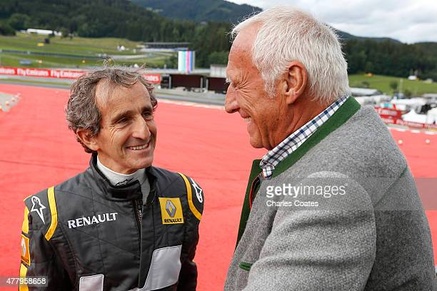 Infiniti Red Bull Racing team owner and CEO of the Austria energy drink producer Red Bull Dietrich Mateschitz speaks with former driver Alain Prost...