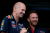Infiniti Red Bull Racing Team Principal Christian Horner and Adrian Newey the Infiniti Red Bull Racing Chief Technical Officer smile before taking...