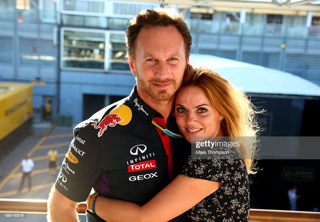 Infiniti Red Bull Racing Team Principal <a gi-track='captionPersonalityLinkClicked' href=/galleries/search?phrase=Christian+Horner&family=editorial&specificpeople=228706 ng-click='$event.stopPropagation()'>Christian Horner</a> and Geri Halliwell pose after the F1 Grand Prix of Italy at Autodromo di Monza on September 7, 2014 in Monza, Italy.