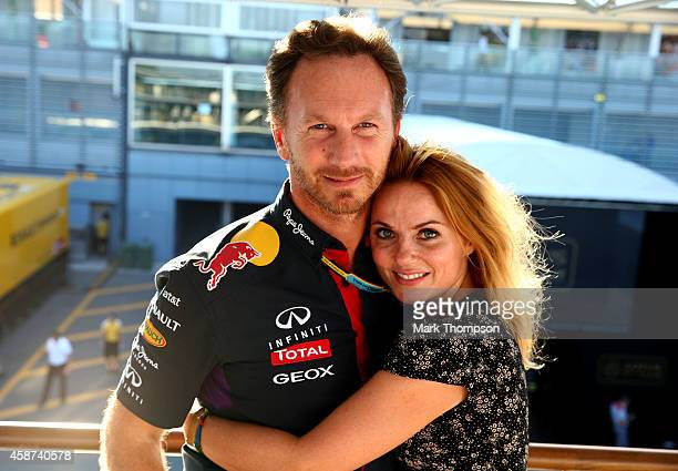 Infiniti Red Bull Racing Team Principal Christian Horner and Geri Halliwell pose after the F1 Grand Prix of Italy at Autodromo di Monza on September...