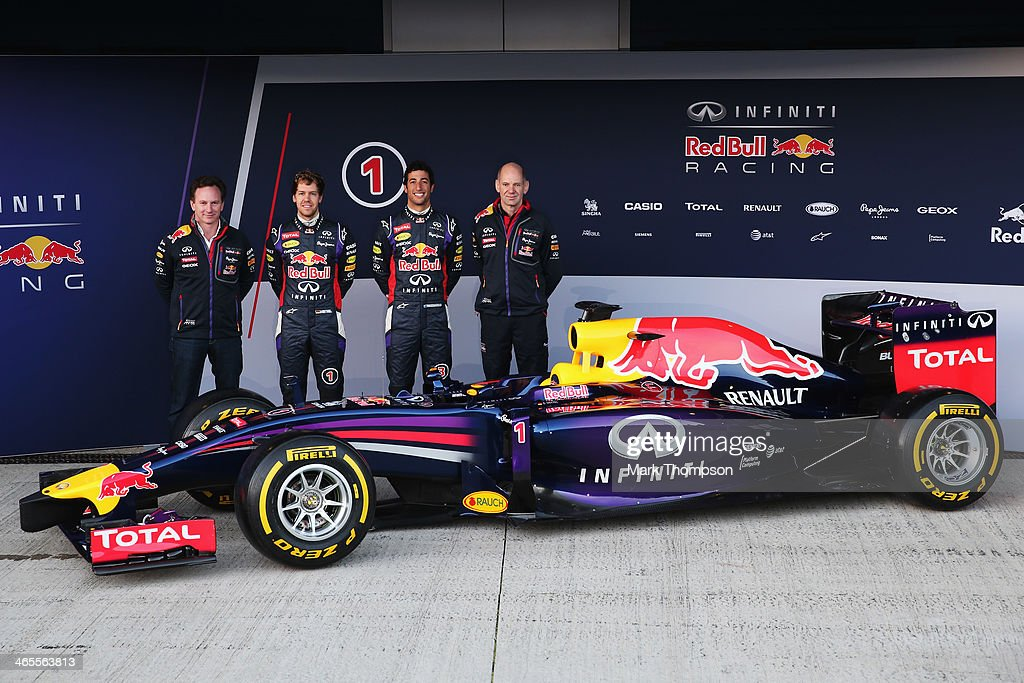 Infiniti Red Bull Racing Team Principal Christian Horner drivers Sebastian Vettel of Germany Daniel Ricciardo of Australia and Infiniti Red Bull...