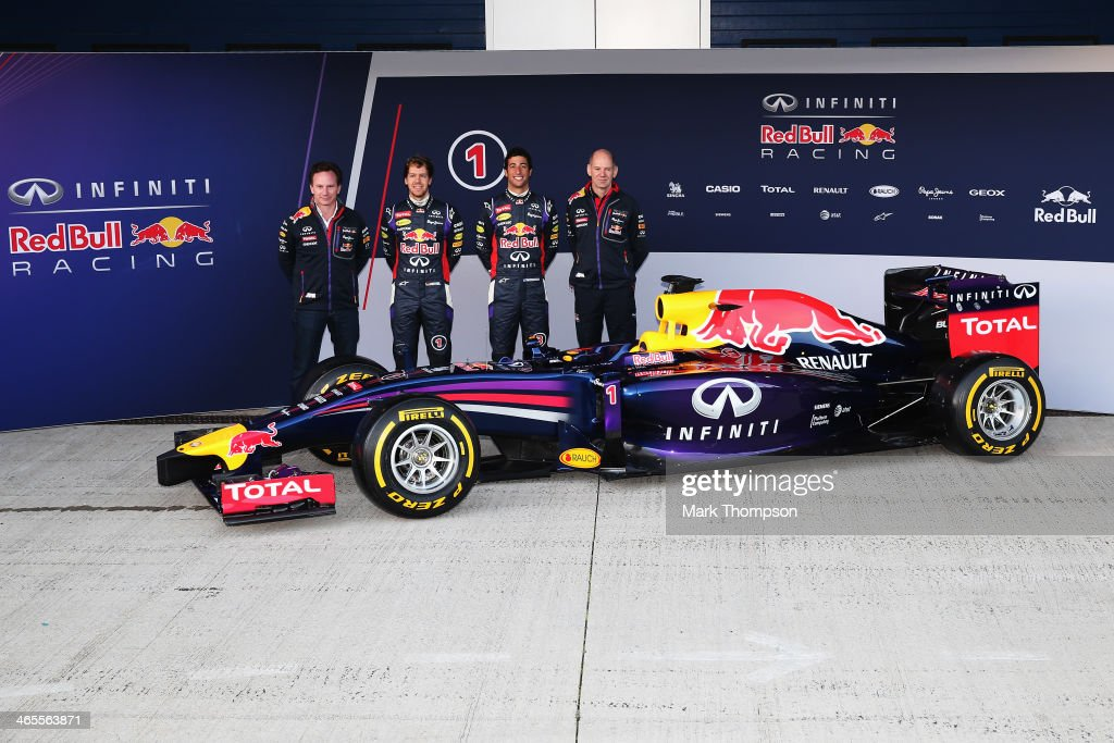 Infiniti Red Bull Racing Team Principal <a gi-track='captionPersonalityLinkClicked' href=/galleries/search?phrase=Christian+Horner&family=editorial&specificpeople=228706 ng-click='$event.stopPropagation()'>Christian Horner</a>, drivers <a gi-track='captionPersonalityLinkClicked' href=/galleries/search?phrase=Sebastian+Vettel&family=editorial&specificpeople=2233605 ng-click='$event.stopPropagation()'>Sebastian Vettel</a> of Germany, <a gi-track='captionPersonalityLinkClicked' href=/galleries/search?phrase=Daniel+Ricciardo&family=editorial&specificpeople=6547569 ng-click='$event.stopPropagation()'>Daniel Ricciardo</a> of Australia and Infiniti Red Bull Racing Chief Technical Officer <a gi-track='captionPersonalityLinkClicked' href=/galleries/search?phrase=Adrian+Newey&family=editorial&specificpeople=215410 ng-click='$event.stopPropagation()'>Adrian Newey</a> attend the launch of their new RB10 Formula One car at the Circuito de Jerez on January 28, 2014 in Jerez de la Frontera, Spain.