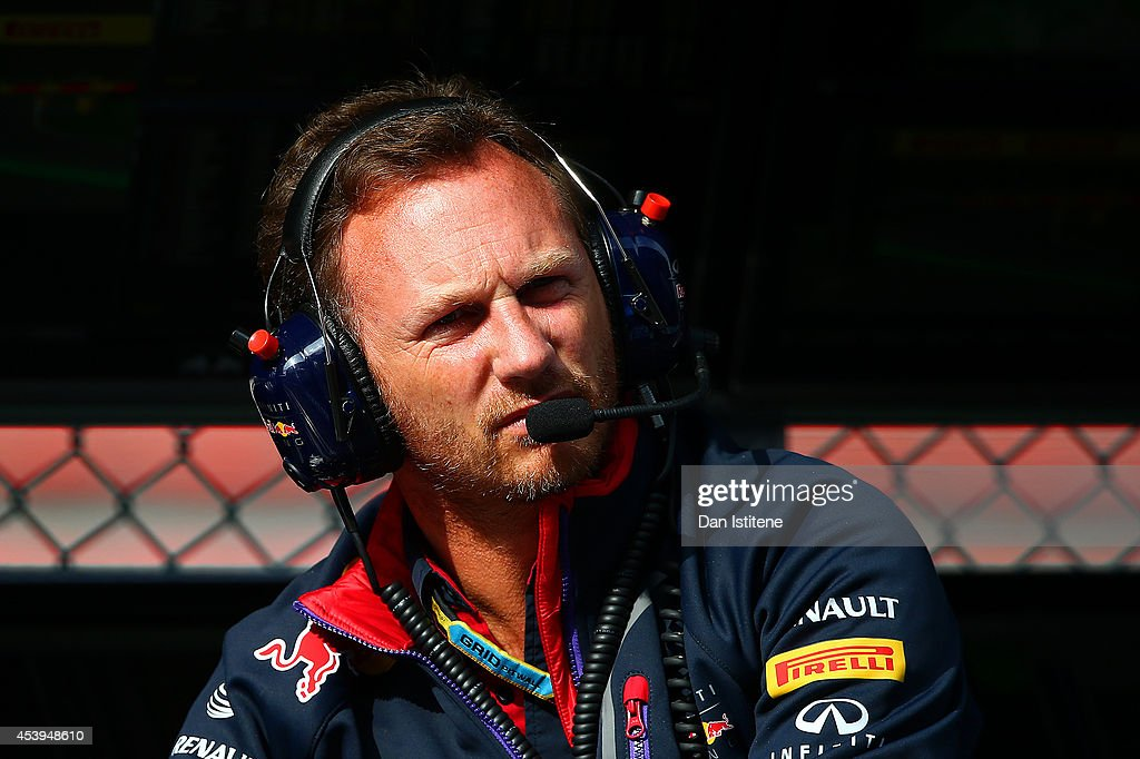 Infiniti Red Bull Racing Team Principal Christian Horner looks on from the pit wall during practice ahead of the Belgian Grand Prix at Circuit de Spa-Francorchamps on August 22, 2014 in Spa, Belgium.