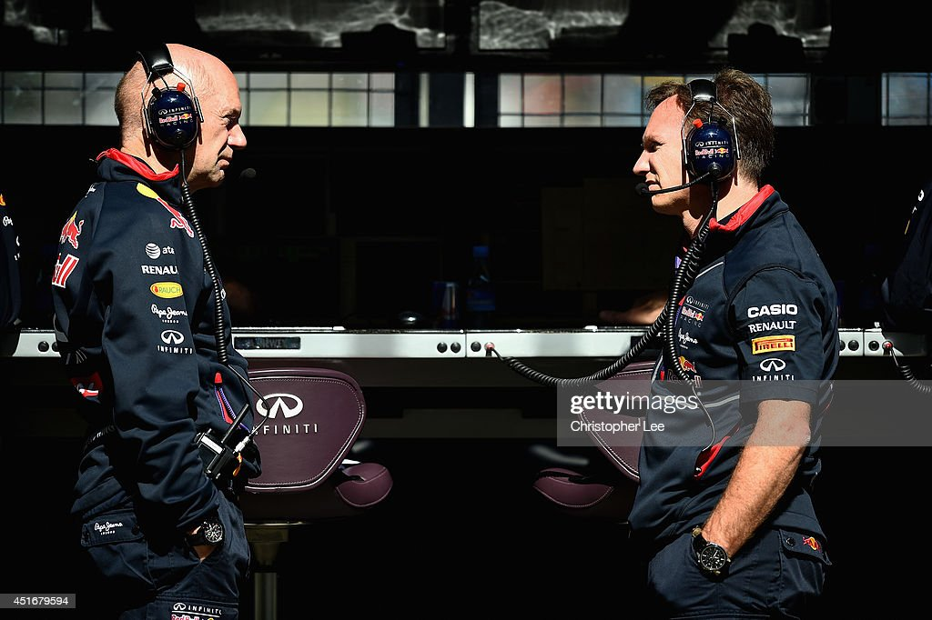 Infiniti Red Bull Racing Team Principal <a gi-track='captionPersonalityLinkClicked' href=/galleries/search?phrase=Christian+Horner&family=editorial&specificpeople=228706 ng-click='$event.stopPropagation()'>Christian Horner</a> (R) speaks with <a gi-track='captionPersonalityLinkClicked' href=/galleries/search?phrase=Adrian+Newey&family=editorial&specificpeople=215410 ng-click='$event.stopPropagation()'>Adrian Newey</a>, the Infiniti Red Bull Racing Chief Technical Officer during practice ahead of the British Formula One Grand Prix at Silverstone Circuit on July 4, 2014 in Northampton, United Kingdom.
