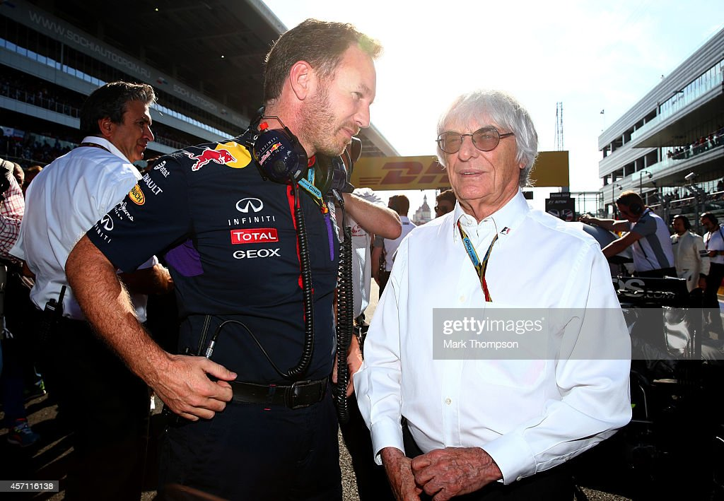 Infiniti Red Bull Racing Team Principal <a gi-track='captionPersonalityLinkClicked' href=/galleries/search?phrase=Christian+Horner&family=editorial&specificpeople=228706 ng-click='$event.stopPropagation()'>Christian Horner</a> speaks with F1 supremo <a gi-track='captionPersonalityLinkClicked' href=/galleries/search?phrase=Bernie+Ecclestone&family=editorial&specificpeople=211579 ng-click='$event.stopPropagation()'>Bernie Ecclestone</a> on the grid before the Russian Formula One Grand Prix at Sochi Autodrom on October 12, 2014 in Sochi, Russia.