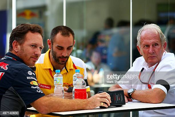 Infiniti Red Bull Racing Team Principal Christian Horner speaks with Infiniti Red Bull Racing Team Consultant Dr Helmut Marko and Renault's Cyril...