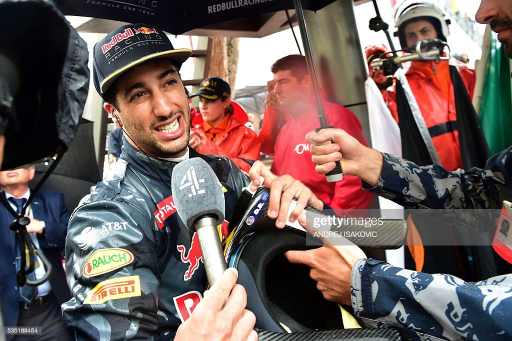 Infiniti Red Bull Racing's Australian driver Daniel Ricciardo answers the journalists at the Monaco street circuit, on May 29, 2016 in Monaco, ahead of the Monaco Formula 1 Grand Prix. / AFP / ANDREJ