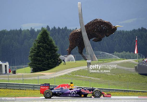 Infiniti Red Bull Racing's Australian driver Daniel Ricciardo drives at the Red Bull Ring in Spielberg on June 19 2015 during the first practice...