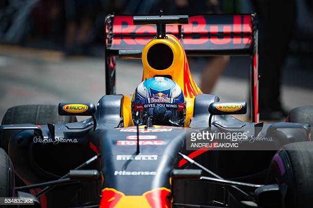 Infiniti Red Bull Racing's Australian driver Daniel Ricciardo drives out of the pit lane during the qualifying session at the at the Monaco street...