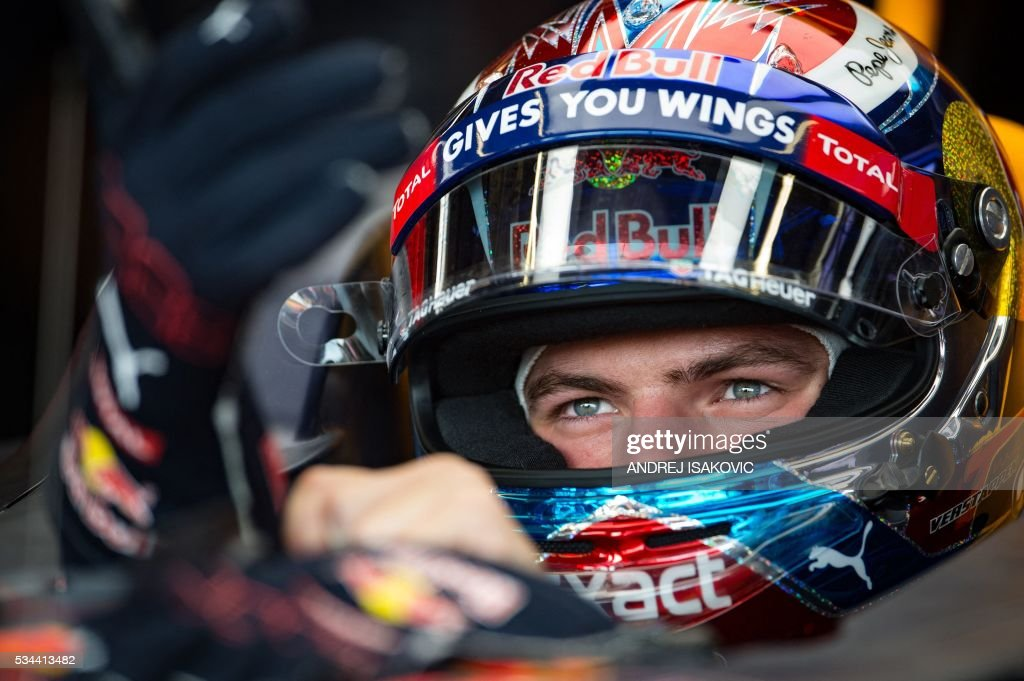 Infiniti Red Bull racing's Belgian-Dutch driver Max Verstappen sits in his car during the first practice session at the Monaco street circuit, on May 26, 2016 in Monaco, three days ahead of the Monaco Formula 1 Grand Prix. / AFP / ANDREJ