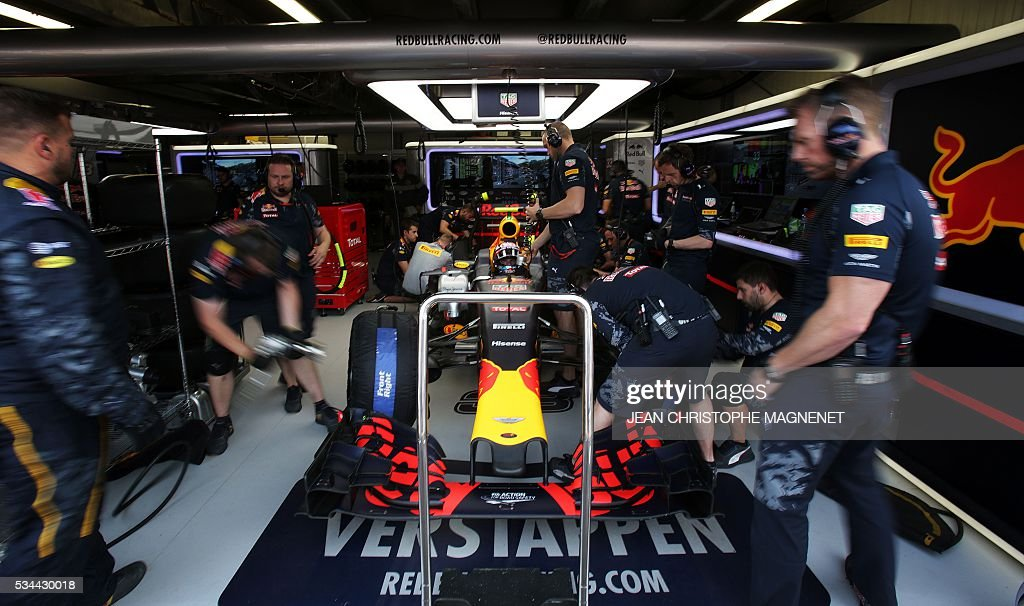 Infiniti Red Bull racing's Belgian-Dutch driver Max Verstappen sits in his car during the second practice session at the Monaco street circuit, on May 26, 2016 in Monaco, three days ahead of the Monaco Formula 1 Grand Prix. / AFP / JEAN