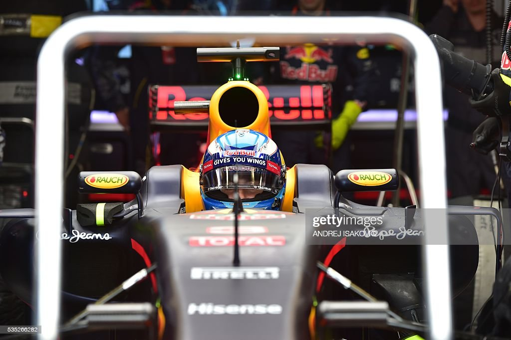 Infiniti Red Bull racing's Belgian-Dutch driver Max Verstappen sits in his car at the Monaco street circuit, on May 29, 2016 in Monaco, ahead of the Monaco Formula 1 Grand Prix. / AFP / ANDREJ