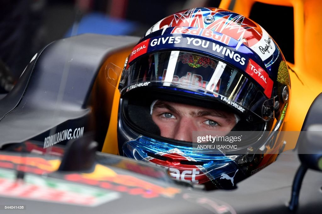 Infiniti Red Bull Racing's Belgian-Dutch driver Max Verstappen sits in his car ahead of the first practice session of the Formula One Grand Prix of Austria at the Red Bull Ring in Spielberg, Austria on July 1, 2016. / AFP / ANDREJ