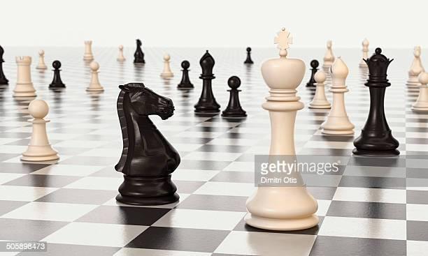 Infinity chess board, black knight checks king