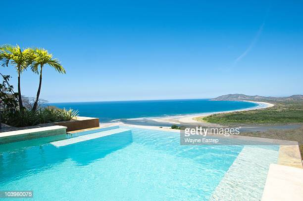 Infinity pool overlooking beach and Pacific Ocean