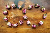 Infinity symbol made from dried roses