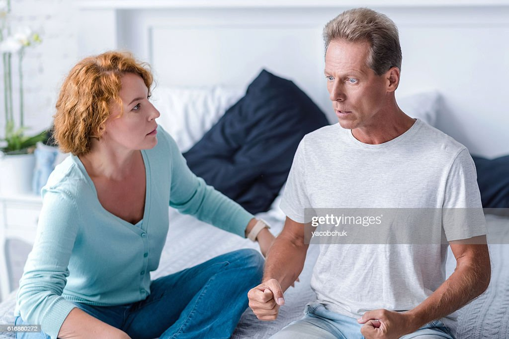 Inflamed aged couple quarreling : Stock Photo