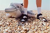 Inflatable dolphin on pebble beach