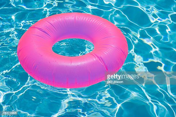 Inflatable inner tube in swimming pool