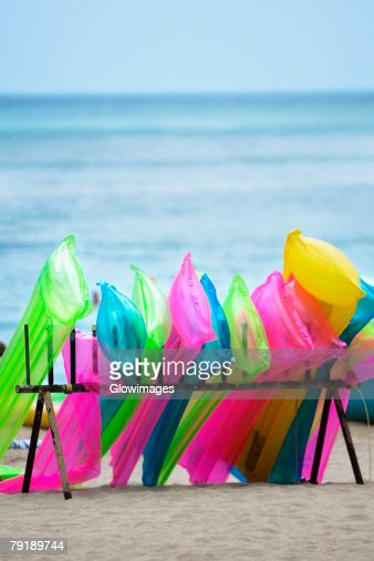 Inflatable rafts on the beach, Waikiki Beach, Honolulu, Oahu, Hawaii Islands, USA : Stock Photo