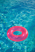 Inflatable ring in pool, elevated view