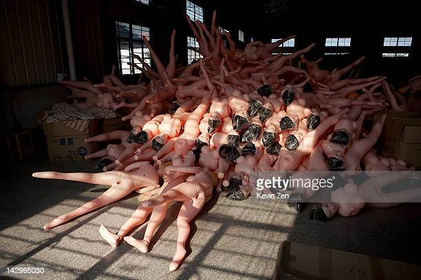 Inflatable sex dolls are stored in a warehouse at the Jiamei Plastic Toy Factory on February 19 2012 in Ningbo China The Jiamei plastic toy company...