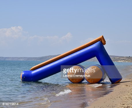 Inflatable slides to slide into the water : Stock-Foto