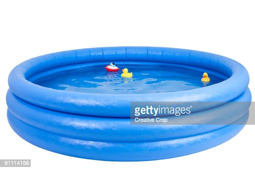 Inflatable swimming pool with rubber duck and toy